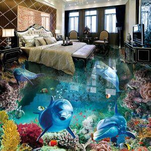 Estéreo encargo de la foto de papel de pared 3D Underwater World 3D Dolphins Floor Tiles murales cuarto de baño salón impermeable de PVC Fondos Downl cLcy #