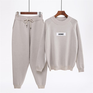 Mozuleva Winter New Women's Fashion Cashmere Knitted Sweater Sets Sportswear Long-sleeved Trousers Two-piece Sets femme 201120