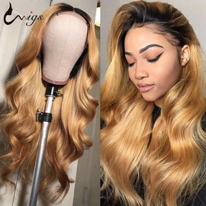 Body Wave Brown Wig Honey Loonde Lace Front Wigs 1B 27 Barato Humano Cabelo Perucas Brown Lace Front Humano Cabelo Para Mulheres Negras
