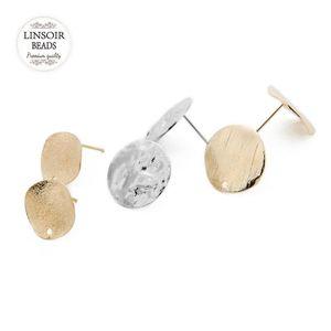 도매 20PCS / 많은 금속 귀걸이 스터드 자료 골든 / 로듐 귀걸이 포스트 플랫 자료 핀 설정 DIY 귀 보석 만들기 위해