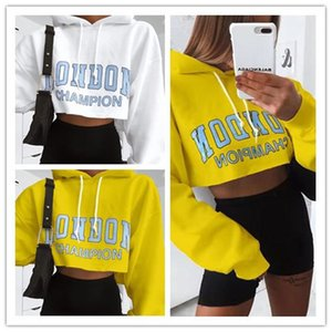 2020 style autumn women's letter printed long sleeve hooded fashion slim short hilltop sweater Sweatshirts Long Sleeve Crop Tops