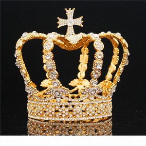 Male Cross Crown Baroque Bridal Wedding Crown Royal King Tiara Wedding Dress Birthday Party Performance Accessories Diadem C19022201