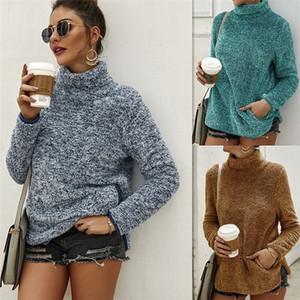 Designer de gola alta Womens Hoodies Outono Inverno Sólidos velo Cor capuz malhas camisola Casual Mulheres manga comprida roupa Com o Pocket