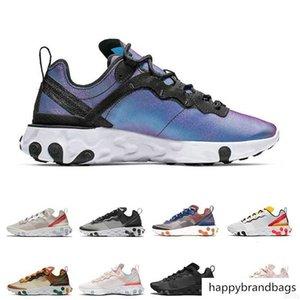 React Element 87 55 running shoes mens white black Black women breathable sports sneaker size 36-45