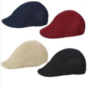 Yaz Moda Mesh Bere Cap Unisex Kadınlar için Saf Renk Düz Beyzbol Şapka ve Erkek Sunshade Beach Cap1
