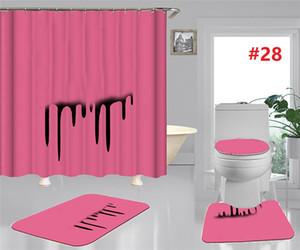 Lettres-marées Siège toilette Couvre-baignoire Rideaux de douche Set Tapis de toilette non glissants Mode Accessoires de salle de bain Décoration de la maison