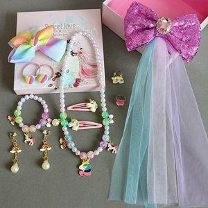 Princess girls gift Unicorn necklace bracelet earrings Ear Clip Rings hair clips scrunchies Hair Jewelry girls suits jewellery box B3510