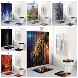 후크 X1018와 2020 새로운 디자인 목욕 커튼 3D 리얼 타이거 헤드 인쇄 샤워 커튼