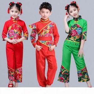 Chinese Folk Dancing Costume Girls Yangko Clothes Modern Drum Dance Performance Wear Fan Dance Outfits New Year Hanfu Suit