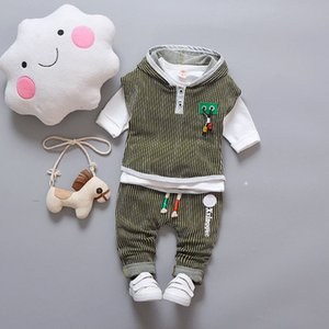 Infant Boy Clothes Children Spring 3pcs Baby Boys Clothing Sets Striped Hooded Toddler Clothes Sets Boys Set