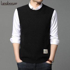2020 neue Qualitäts-Autum Fashion Marke Knit Pullover Woll Sweat Vest für Männer Oneck Designer Korean Casual Men Kleidung