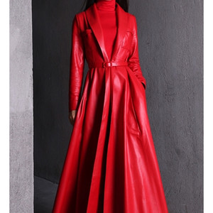 Nerazzurri Capa de zanjas de cuero maxi negro de alta calidad para las mujeres de manga larga de manga larga extra por encima de la capa de talla grande 201224