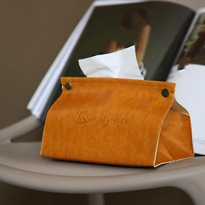 Leather Car Tissue Box Living Room Dining Room Coffee Table Home Desktop Multifunctional Storage Drawer
