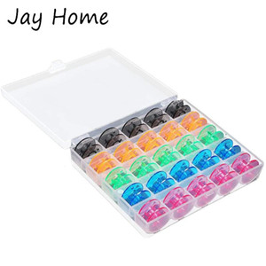 25Pcs Colorful Sewing Machine Bobbins with Storage Box Sewing Machine Plastic Bobbins Spools for DIY Craft Accessories