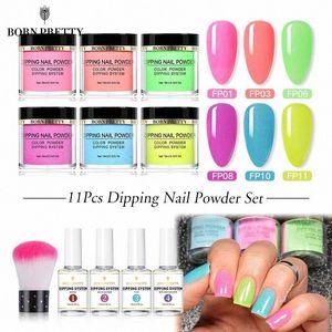BORN PRETTY Dipping Nail Powder Set Natural Dry Chrome Pigment Nail Art Glitter Fluorescent Holographics Powder Nails DIY 6Lxs#