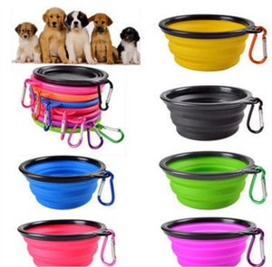 Travel Collapsible Dog Cat Feeding Bowl Two Styles Pet Water Dish Feeder Silicone Foldable Bowl With Hook G.