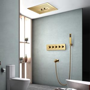 16 인치 티 - PVD 골드 컬러 샤워 시스템 SPA 강우있는 샤워기을 천장 마운트 욕실 샤워 온도 조절 밸브 황동