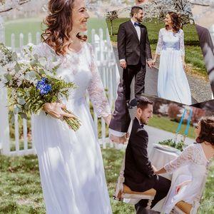 White Lace Chiffon Beach Wedding Dresses 3 4 Long Sleeve Lace Top Boho Bridal Gowns Floor Length Garden Wedding Custom Made Plus Size