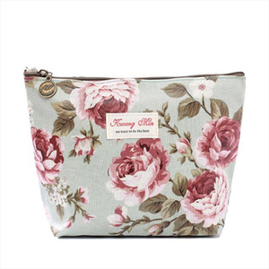 2019 Women Make Up Bags Flower Cotton Zipper Cosmetic Cases Casual Girls Clutch Bag Lady Pouch Storage Item Organizer Waterproof