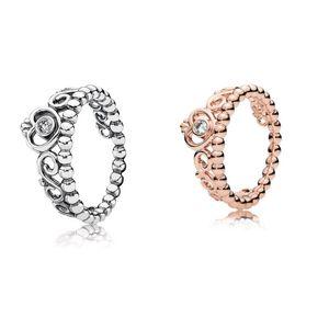 925 Sterling Silver My princess Stackable Ring Set Original Box for Pandora Women Wedding CZ Diamond Crown 18K Rose Gold Ring 7 K2