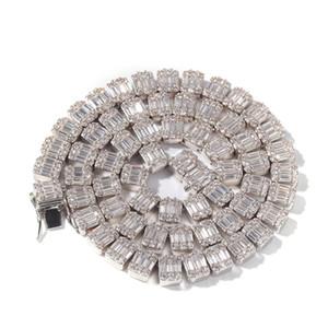 Iced Out Цепи Хип-хоп ювелирных мужчины Полного бриллиантового колье Micro Цирконий Copper Set Diamond Necklace Хлеб площадь Diamon