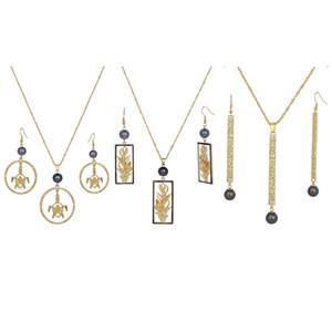 Jogo da jóia de conjuntos de jóias Bar Atacado Ouro 14k Folha redonda Black Pearl polinésia Pessoas Tartaruga havaiana brincos para presentes
