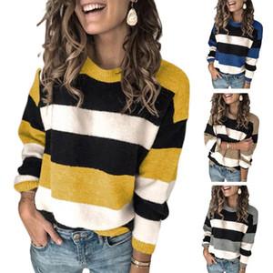 Mulheres manga comprida O-Neck Sweater cor contrastante Stripes solto Knit Jumper Top R3MC