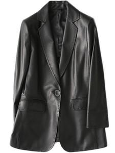 Nerazzurri nero cuoio delle donne dell'unità giacca sportiva manica lunga pulsante singolo più la tuta sportiva giacca di pelle delle donne della molla della moda 2020 LJ201021