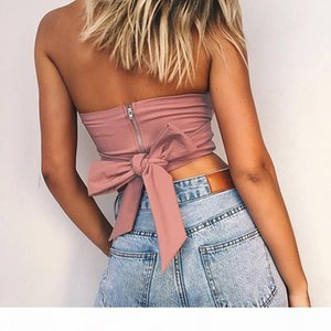 Bow Shirt Camisole women Top 2018 Sexy Off Shoulder New fashion Party Slim Backless Women Crop Tops Blusa 5026