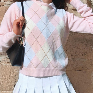 Argyle Geometric y2k Aesthetic Pink Knitted Sweater Women Autumn Preppy Style Plaid O-Neck Long Sleeve Pullover Tops Jumper 201223