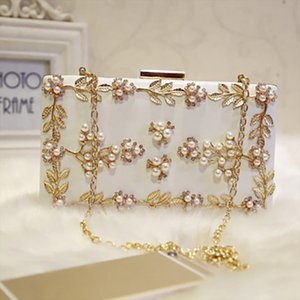 Women Handbags Evening bag Ladies Pearl Wedding Clutches Female Leaf Evening Handbag Party Clutch Purse Shoulder Crossbag