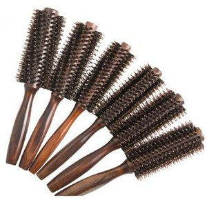 6 Typen gerade Twill Hair Kamm Natürliche Eber Borst Rolling Pinsel Runde Fass Blasen Curling DIY Friseurstyl Jllikd