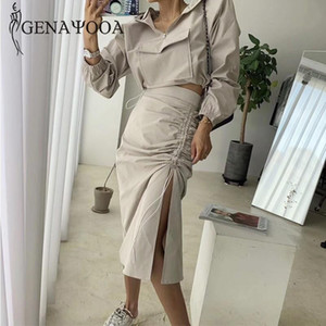 Genayooa Autumn Winter Two Piece Set Long Sleeve Top And Skirt Streetwear Loose Women Two Piece Outfits Hooded Top Midi Skirt