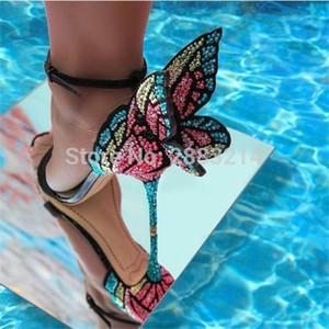 nuovi metallici ricamati ali di sandali in pelle d'angelo pompe vestito da partito dell'involucro della caviglia scarpe da sposa farfalla sandali degli alti talloni 0928