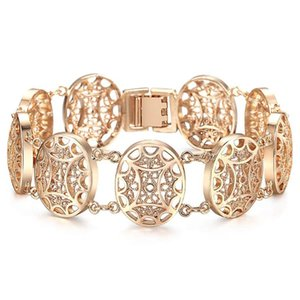 585 Rose Gold Bracelet Bangle for Women Fashion Cut Out Carved Flowers Vine Oval Wristband Jewelry Friendship Gift CB19