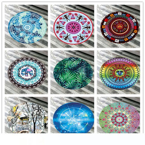 Round Beach Towel Microfiber Soft Beach Blanket Bikini Shawl Quick Drying Swimming Bath Towel Tapestry Yoga Mat Carpet Outdoor Picnic Pad