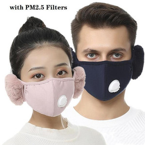10 Pcs Face Mask Cover With Plush Ear Protective Cycling Mask PM2.5 Thick And Warm Mouth Masks Winter Mouth-Muffle Earflap Outdoor FY9222