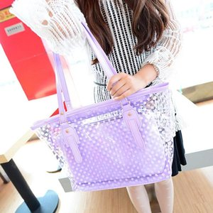 Big Bag Female 2020 New Fashion Large Capacity Fashion Lady Plastic Wave Point Transparent Beach Shoulder Bag Handbag + Clutch