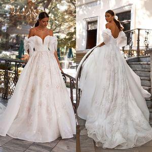 2021 Beach Wedding Dresses Off the Shoulder Lace Printing A Line Boho Wedding Dress Custom Made Short Sleeves Vestidos De Novia