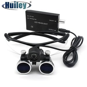 2.5X 3.5X Magnification Binocular Dental Loupe Surgery Surgical Magnifier with Headlight LED Light Medical Operation Loupe Lamp T200521
