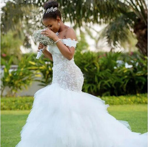 Elegant African White Mermaid Wedding Dresses Off The Shoulder Appliques Lace Tiered Train Long Bridal Gowns Plus Size Wedding Dress Vestido