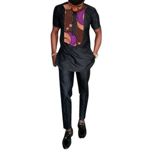 Vêtements ethniques Vêtements d'impression africaine Vêtements Homme Chemise + Pantalon Ensembles Hauts à manches courtes et Pantalon long Pantalon Noir Tenues Patchwork Design Shirts1