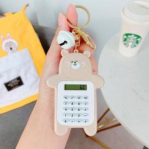 2020 Calculator Nuovo creativo multifunzionale dell'orso sveglio del keychain catena Backpacke chiave dell'automobile per il regalo delle donne Kawaii Portachiavi Llaveros bbyFeI
