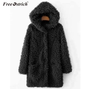 Free Ostrich Winter Jacket Women Casaco Feminino Pockets Hooded Faux Fur Solid Long Sleeve Jaqueta De Couro Feminino N30 201013