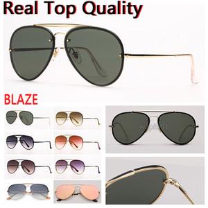 mens occhiali da sole fiammata aviazione occhiali da sole di modo occhiali lenti protezione UV e custodia in pelle libera, scatola al minuto tutti gli accessori!
