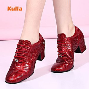 Women Ballroom Latin Dance Shoes Genuine Leather Crocodile Pattern Teachers Practice Modern Tango Dancing Shoes Red Salsa Shoes 201017