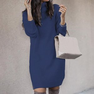 Muyogrt Chic Women Solid Color Turtleneck Long Sleeve Casual Loose Knitted Sweater Dress Casual Warm Autumn Women's Sweater