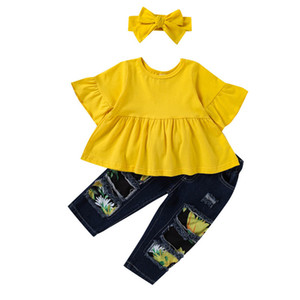 2021 new baby girls suits Summer sweet girls outfits Tops+Jeans+headbands 3pcs set kids suits kids clothes girls clothing 0-5Y B3768