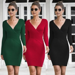 Elegant V neck Sweater Wrap Mini Dress Women Fall Winter 2021 Long Sleeve Knitted bodycon Red Black White Ladies Dresses C419