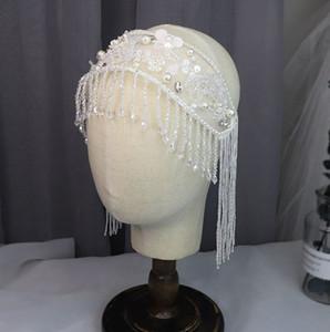 Neue Braut Quaste Kristallstirnband Beavy handgemachte weiße Pailletten wulstiger Haarschmuck Günstige lager freies Verschiffen